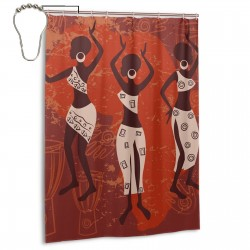African Beautiful Ethnic Dancing Shower Curtain , Shower Bathroom Curtain 55x72 Inch Waterproof Fabric with Hooks , Wildly used in bathroom and hotel etc.
