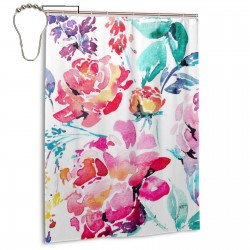 Abstract Watercolor Floral Seamless Pattern Shower Curtain , Shower Bathroom Curtain 55x72 Inch Waterproof Fabric with Hooks , Wildly used in bathroom and hotel etc.