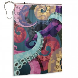 Abstract Octopus Kraken Shower Curtain , Shower Bathroom Curtain 55x72 Inch Waterproof Fabric with Hooks , Wildly used in bathroom and hotel etc.