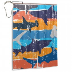 Abstract Colorful Shark Fish Shower Curtain , Shower Bathroom Curtain 55x72 Inch Waterproof Fabric with Hooks , Wildly used in bathroom and hotel etc.