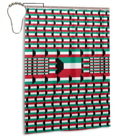 Kuwait Shower Curtain , Shower Bathroom Curtain 55x72 Inch Waterproof Fabric with Hooks , Wildly used in bathroom and hotel etc.