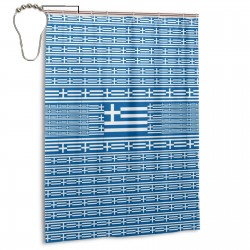 Greece Shower Curtain , Shower Bathroom Curtain 55x72 Inch Waterproof Fabric with Hooks , Wildly used in bathroom and hotel etc.