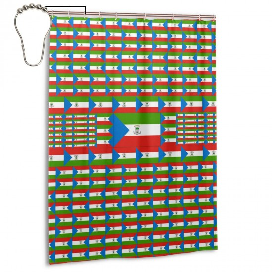 Equatorial Guinea Shower Curtain , Shower Bathroom Curtain 55x72 Inch Waterproof Fabric with Hooks , Wildly used in bathroom and hotel etc.