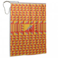 Bhutan Shower Curtain , Shower Bathroom Curtain 55x72 Inch Waterproof Fabric with Hooks , Wildly used in bathroom and hotel etc.