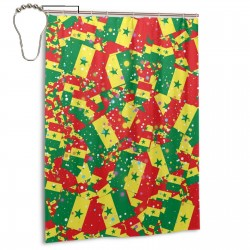 Senegal Shower Curtain , Shower Bathroom Curtain 55x72 Inch Waterproof Fabric with Hooks , Wildly used in bathroom and hotel etc.