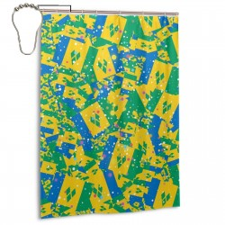 Saint Vincent And The Grenadines Shower Curtain , Shower Bathroom Curtain 55x72 Inch Waterproof Fabric with Hooks , Wildly used in bathroom and hotel etc.