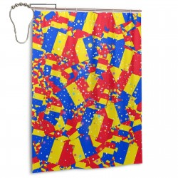 Romania Shower Curtain , Shower Bathroom Curtain 55x72 Inch Waterproof Fabric with Hooks , Wildly used in bathroom and hotel etc.