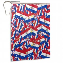 Paraguay Shower Curtain , Shower Bathroom Curtain 55x72 Inch Waterproof Fabric with Hooks , Wildly used in bathroom and hotel etc.