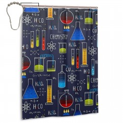 B07FL7JYD9 Chemistry Experiment Shower Curtain , Shower Bathroom Curtain 55x72 Inch Waterproof Fabric with Hooks , Wildly used in bathroom and hotel etc.