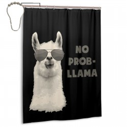 B07DKBF9DT No Problem Llama Shower Curtain , Shower Bathroom Curtain 55x72 Inch Waterproof Fabric with Hooks , Wildly used in bathroom and hotel etc.