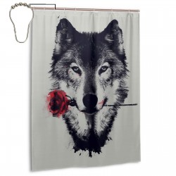 Awesome Wolf Rose Shower Curtain , Shower Bathroom Curtain 55x72 Inch Waterproof Fabric with Hooks , Wildly used in bathroom and hotel etc.