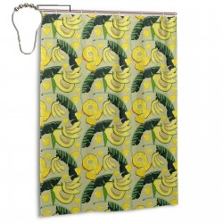 Avocado Tropical Leaves Pattern Shower Curtain , Shower Bathroom Curtain 55x72 Inch Waterproof Fabric with Hooks , Wildly used in bathroom and hotel etc.