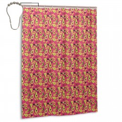 Avocado Red Pattern Shower Curtain , Shower Bathroom Curtain 55x72 Inch Waterproof Fabric with Hooks , Wildly used in bathroom and hotel etc.