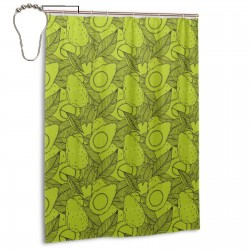 Avocado Pattern (2) Shower Curtain , Shower Bathroom Curtain 55x72 Inch Waterproof Fabric with Hooks , Wildly used in bathroom and hotel etc.