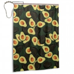 Avocado Fruit Pattern Shower Curtain , Shower Bathroom Curtain 55x72 Inch Waterproof Fabric with Hooks , Wildly used in bathroom and hotel etc.
