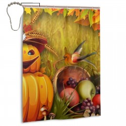 Autumn Pumpkin Bright Shower Curtain , Shower Bathroom Curtain 55x72 Inch Waterproof Fabric with Hooks , Wildly used in bathroom and hotel etc.