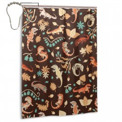 Autumn Geckos In Dark Brown Shower Curtain , Shower Bathroom Curtain 55x72 Inch Waterproof Fabric with Hooks , Wildly used in bathroom and hotel etc.