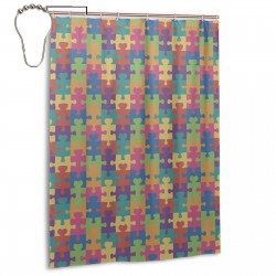 Autism Awareness Puzzle Shower Curtain , Shower Bathroom Curtain 55x72 Inch Waterproof Fabric with Hooks , Wildly used in bathroom and hotel etc.