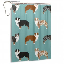 Australian Shepherds Shower Curtain , Shower Bathroom Curtain 55x72 Inch Waterproof Fabric with Hooks , Wildly used in bathroom and hotel etc.