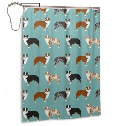 Australian Shepherds Dogs Shower Curtain , Shower Bathroom Curtain 55x72 Inch Waterproof Fabric with Hooks , Wildly used in bathroom and hotel etc.