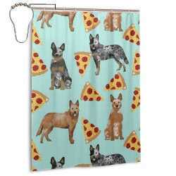 Australian Cattle Dog Pizza Shower Curtain , Shower Bathroom Curtain 55x72 Inch Waterproof Fabric with Hooks , Wildly used in bathroom and hotel etc.