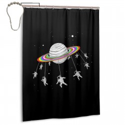 Astronauts Merry Go Round Planet Space Shower Curtain , Shower Bathroom Curtain 55x72 Inch Waterproof Fabric with Hooks , Wildly used in bathroom and hotel etc.