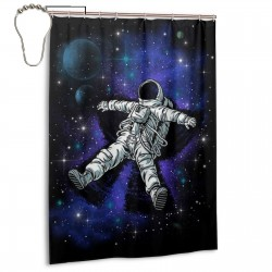 Astronauts Floating Shower Curtain , Shower Bathroom Curtain 55x72 Inch Waterproof Fabric with Hooks , Wildly used in bathroom and hotel etc.