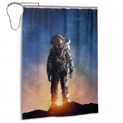 Astronaut In Outer Space Shower Curtain , Shower Bathroom Curtain 55x72 Inch Waterproof Fabric with Hooks , Wildly used in bathroom and hotel etc.