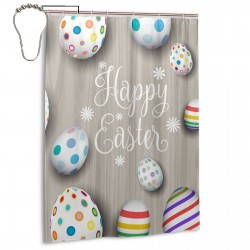 Aster Eggs On Gray Striped Wooden Board Shower Curtain , Shower Bathroom Curtain 55x72 Inch Waterproof Fabric with Hooks , Wildly used in bathroom and hotel etc.