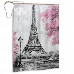 Art Watercolor Paris Eiffel Tower Shower Curtain , Shower Bathroom Curtain 55x72 Inch Waterproof Fabric with Hooks , Wildly used in bathroom and hotel etc.