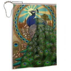 Art Nouveau Peacock Shower Curtain , Shower Bathroom Curtain 55x72 Inch Waterproof Fabric with Hooks , Wildly used in bathroom and hotel etc.