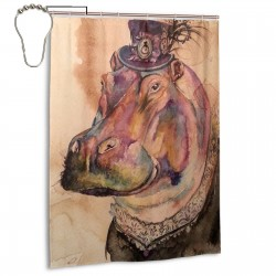 Art Hippo Shower Curtain , Shower Bathroom Curtain 55x72 Inch Waterproof Fabric with Hooks , Wildly used in bathroom and hotel etc.