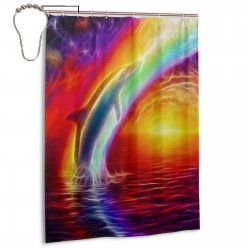 Art Dolphin Rainbow Shower Curtain , Shower Bathroom Curtain 55x72 Inch Waterproof Fabric with Hooks , Wildly used in bathroom and hotel etc.