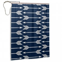 Arrows Navy Shower Curtain , Shower Bathroom Curtain 55x72 Inch Waterproof Fabric with Hooks , Wildly used in bathroom and hotel etc.