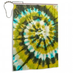 Army Green Spiral Tie Dye Shower Curtain , Shower Bathroom Curtain 55x72 Inch Waterproof Fabric with Hooks , Wildly used in bathroom and hotel etc.