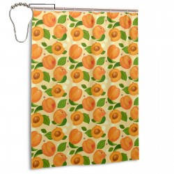 Apricot Pattern Shower Curtain , Shower Bathroom Curtain 55x72 Inch Waterproof Fabric with Hooks , Wildly used in bathroom and hotel etc.