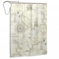Antique Nautical Map Shower Curtain , Shower Bathroom Curtain 55x72 Inch Waterproof Fabric with Hooks , Wildly used in bathroom and hotel etc.