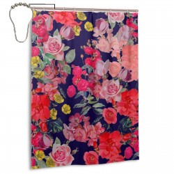 Antique Floral Print Navy Shower Curtain , Shower Bathroom Curtain 55x72 Inch Waterproof Fabric with Hooks , Wildly used in bathroom and hotel etc.