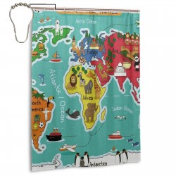Animals World Maps Shower Curtain , Shower Bathroom Curtain 55x72 Inch Waterproof Fabric with Hooks , Wildly used in bathroom and hotel etc.