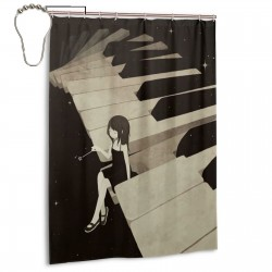 Anime Girl On Piano Shower Curtain , Shower Bathroom Curtain 55x72 Inch Waterproof Fabric with Hooks , Wildly used in bathroom and hotel etc.