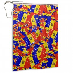 Moldova Shower Curtain , Shower Bathroom Curtain 55x72 Inch Waterproof Fabric with Hooks , Wildly used in bathroom and hotel etc.