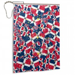 Dominican Republic Shower Curtain , Shower Bathroom Curtain 55x72 Inch Waterproof Fabric with Hooks , Wildly used in bathroom and hotel etc.