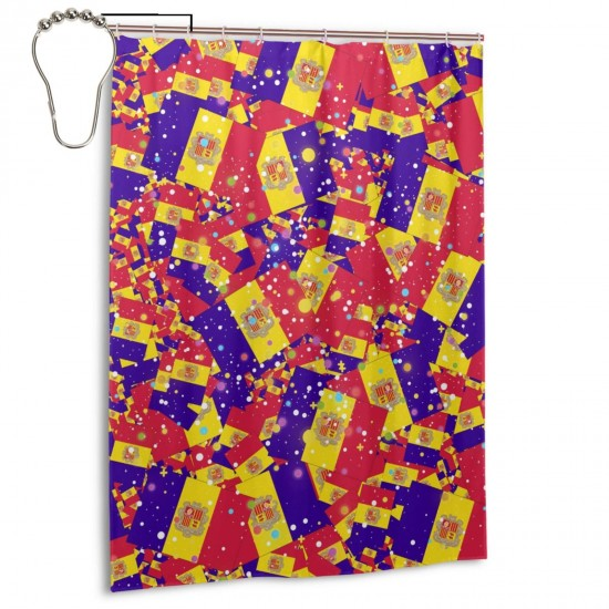 Andorra Shower Curtain , Shower Bathroom Curtain 55x72 Inch Waterproof Fabric with Hooks , Wildly used in bathroom and hotel etc.
