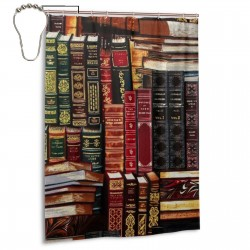 Books Shower Curtain , Shower Bathroom Curtain 55x72 Inch Waterproof Fabric with Hooks , Wildly used in bathroom and hotel etc.