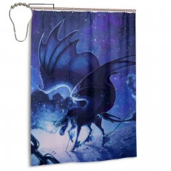 Blue Sky Celestial Unicorn Shower Curtain , Shower Bathroom Curtain 55x72 Inch Waterproof Fabric with Hooks , Wildly used in bathroom and hotel etc.