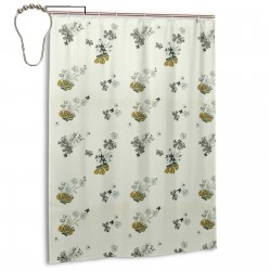 Blue & Yellow Vintage Floral Shower Curtain , Shower Bathroom Curtain 55x72 Inch Waterproof Fabric with Hooks , Wildly used in bathroom and hotel etc.