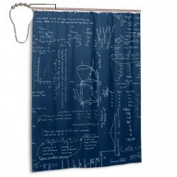 Blackboard Shower Curtain , Shower Bathroom Curtain 55x72 Inch Waterproof Fabric with Hooks , Wildly used in bathroom and hotel etc.