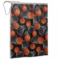 Basketball Sport Shower Curtain , Shower Bathroom Curtain 55x72 Inch Waterproof Fabric with Hooks , Wildly used in bathroom and hotel etc.