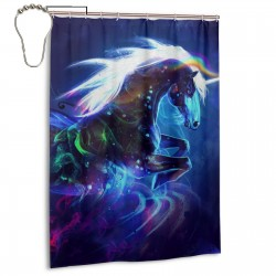 A Unicorn Shower Curtain , Shower Bathroom Curtain 55x72 Inch Waterproof Fabric with Hooks , Wildly used in bathroom and hotel etc.