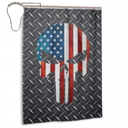A Flag Skeleton On The Steel Plate Shower Curtain , Shower Bathroom Curtain 55x72 Inch Waterproof Fabric with Hooks , Wildly used in bathroom and hotel etc.